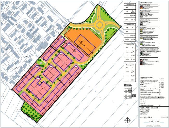 Bebauungsplan Alleenfeld, Entwurfsfassung